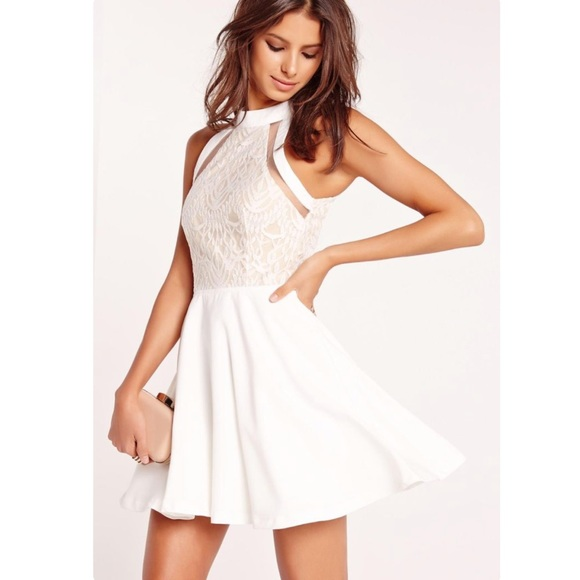 190c1151b233 Missguided Dresses | Mesh Stripe Lace Top Skater Dress White | Poshmark